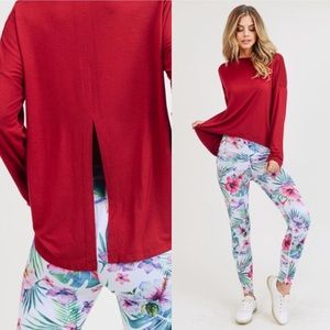 Long sleeve burgundy color